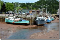 Boats in the Bay of Fundy low tide